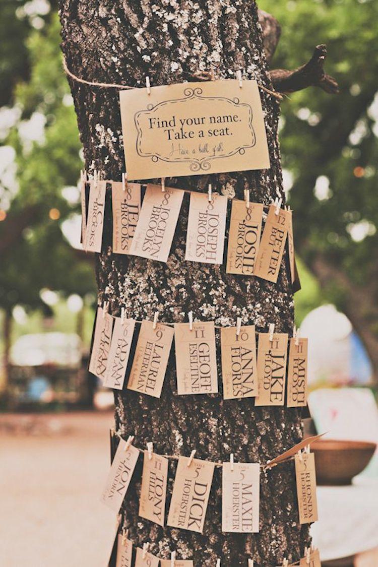 tree trunk escort card display