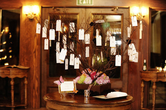Escort Cards Hanging in Tree Branches