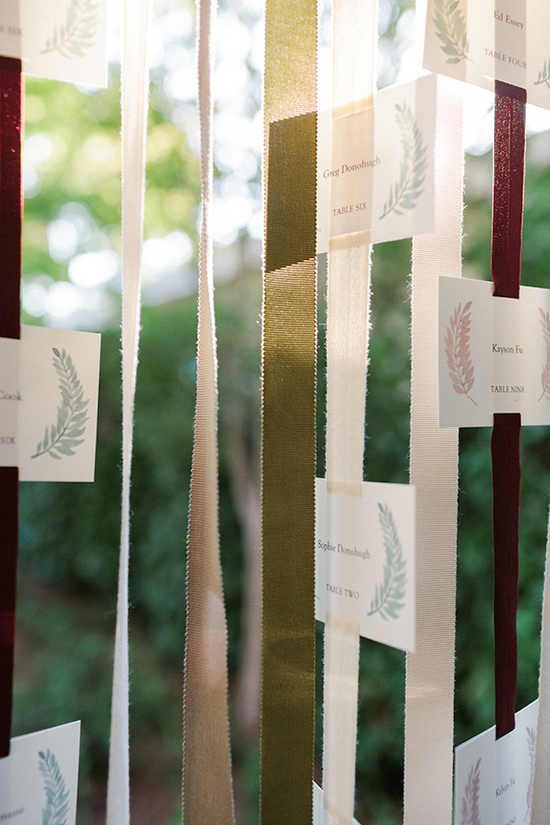 Escort Cards Hanging On Ribbons