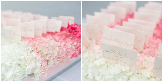 Pink Ombre Hydrangeas as Escort Card Display