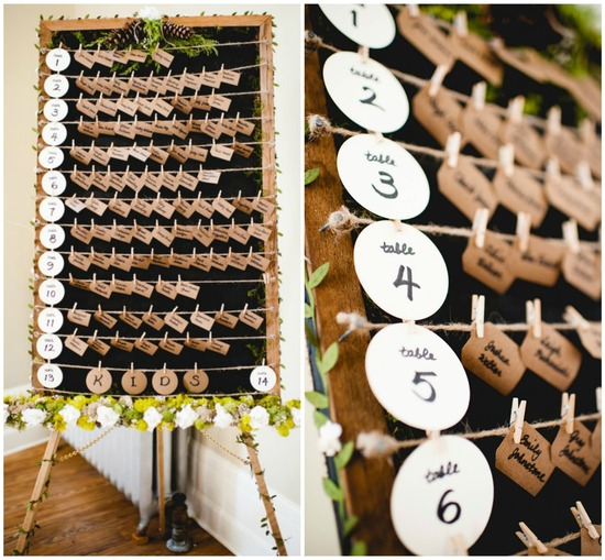 Rustic wedding escort card display