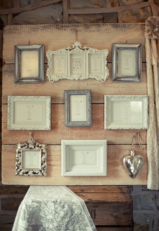 Vintage Picture Frames as Seating Chart