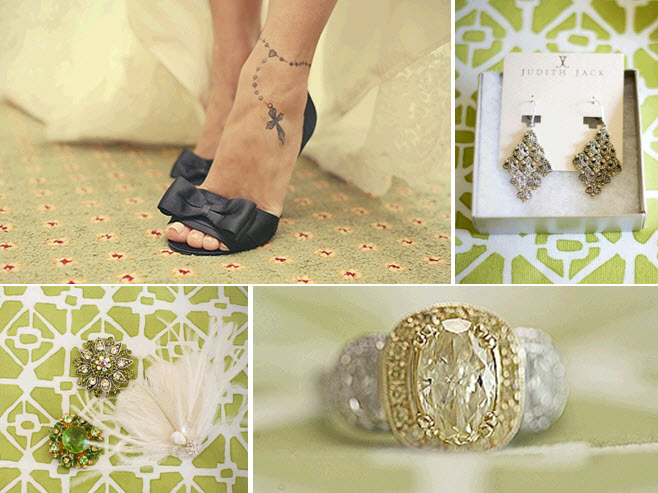 Green-black-modern-edgy-wedding-black-open-toe-bridal-heels-bow-detail-chandelier-earrings-yellow-diamond-engagement-ring.full