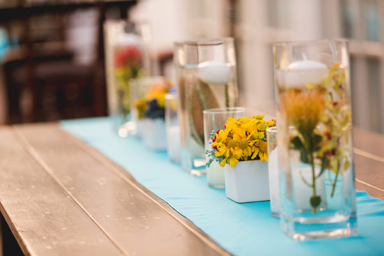 Floating Flowers and Yellow Flower Arrangements as Centerpieces