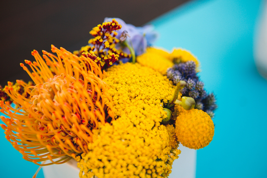 Pincushion Proteas and Billy Balls in Yellow and Purple Flower Arrangement