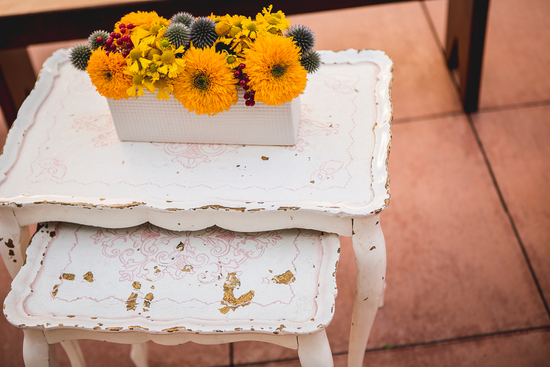 Shabby Chic Furniture with Flower Box of Globe Thistles and Teddy Bear Sunflowers