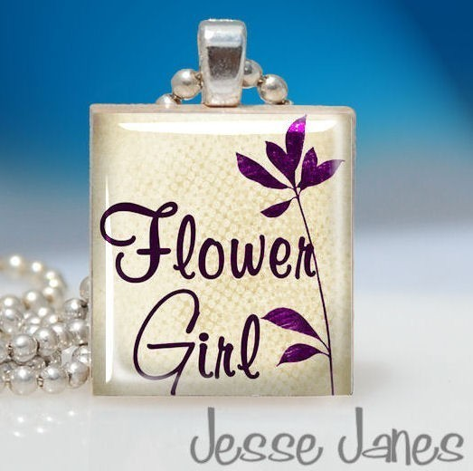 This flower girl pendant is a perfect pendant for your small bridal party member.