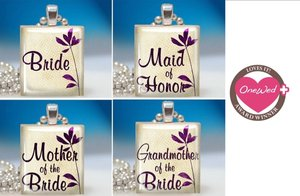 photo of These recycled scrabble tile pendants are the perfect bridesmaid's gift.