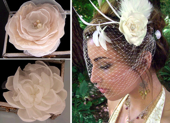 Chic rose ivory handmade bridal hairpieces- feathers, birdcage, and pearls