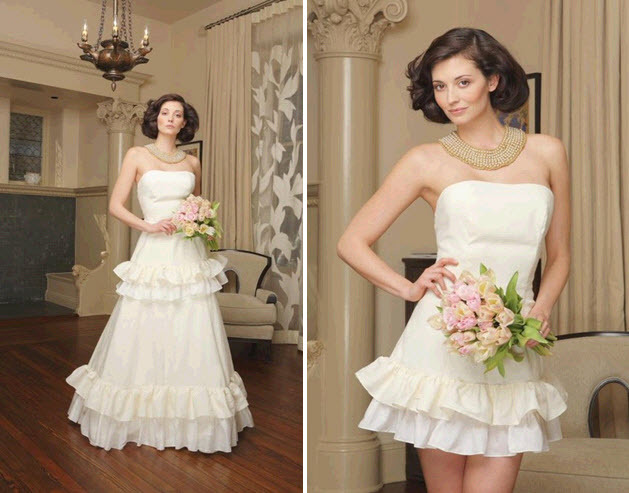 Convertible wedding dress by Morgan Boszilkov- full length for the ceremony, short for the reception