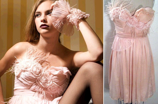 Light-soft-pink-strapless-wedding-reception-dress-floral-applique-feathers.full