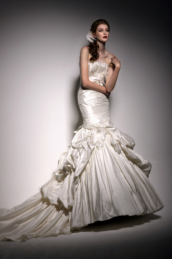 Glam ivory silk mermaid wedding dress with full skirt and strapless neckline