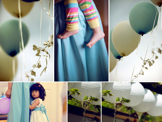 Adorable flower girl in white flower girl dress with blue sash; ivory and blue balloons, white chine