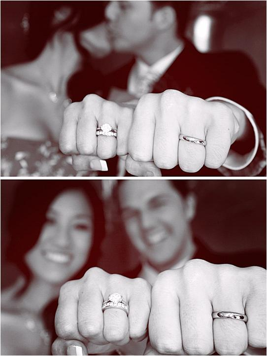 Check out that engagement ring bling! Bride and groom show off their new rings!