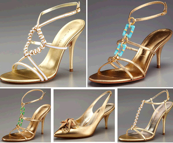 Feel like a Grecian Goddess in these strappy metallic bridal heels