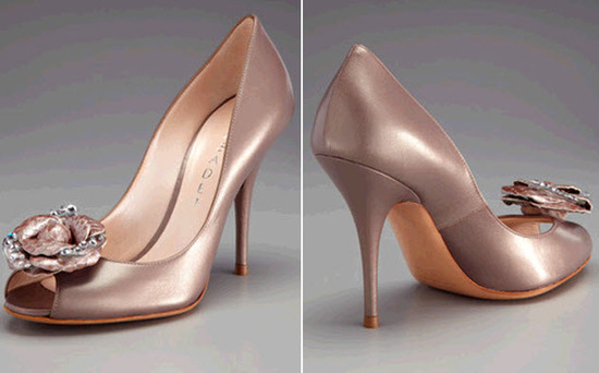 Gorgeous blushy-taupe peep toe bridal heels by Casadei