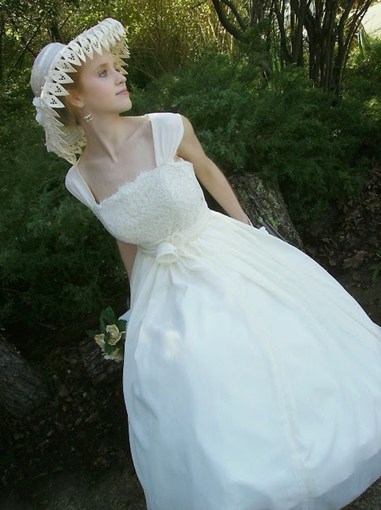 1950s Wedding Gown with Edwardian Style Picture Hat