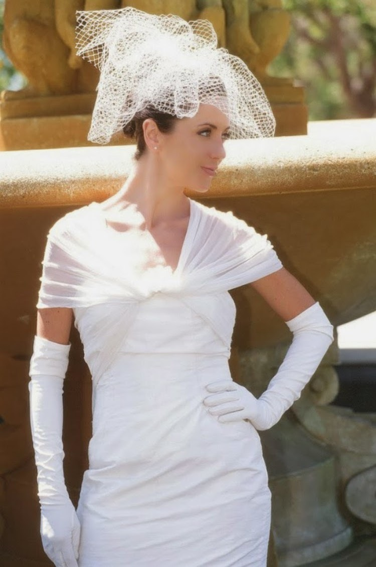 Mod Pouf Veil with 1930s Gown and Gloves