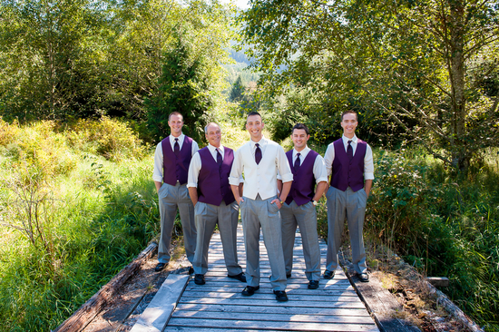 Groomsmen In Gray Slacks and Purple Vests