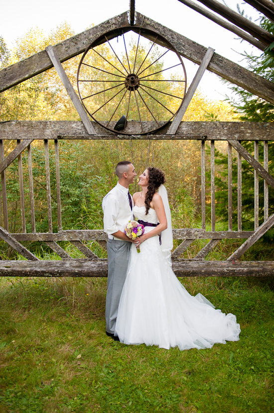 Newlyweds Photo in a Rustic Setting