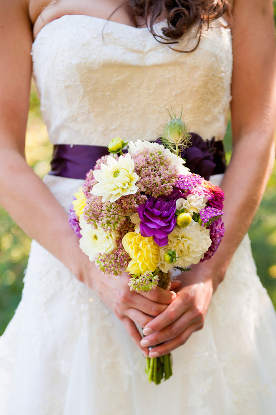 Bridal Bouquet with Pinks Purples and Yellows