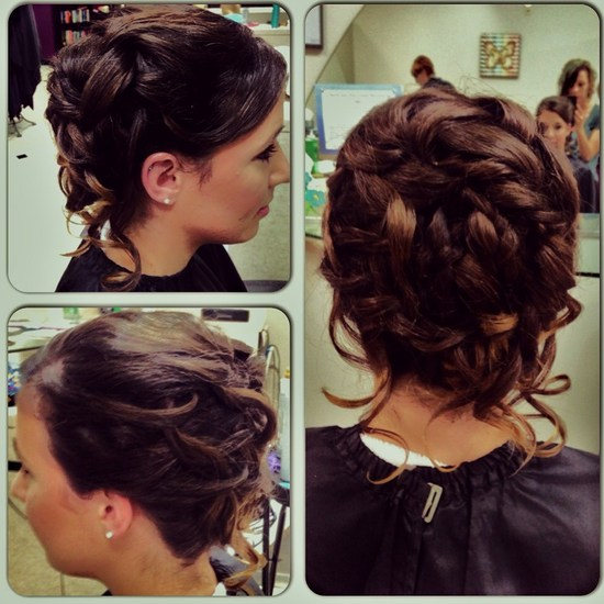 Full updo with loose hanging curls