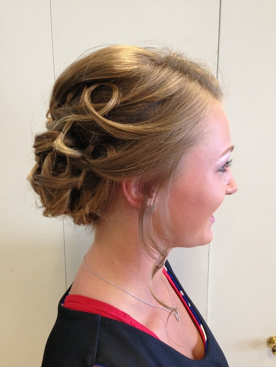 Sleek Modern updo- side view
