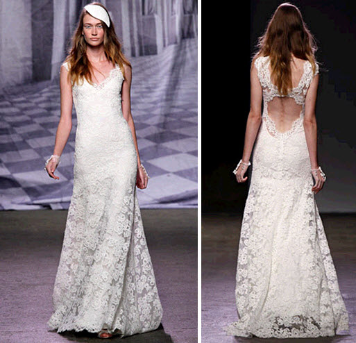 Lace a line monique lhuillier wedding dress with keyhole for Wedding dresses with interesting backs