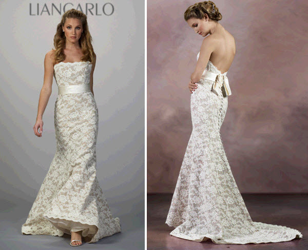 Strapless lace mermaid wedding dress by liancarlo with low for Low cut mermaid wedding dress