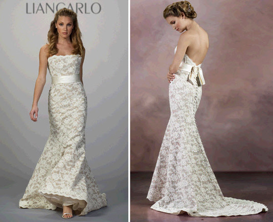 Strapless lace mermaid wedding dress by Liancarlo with low back