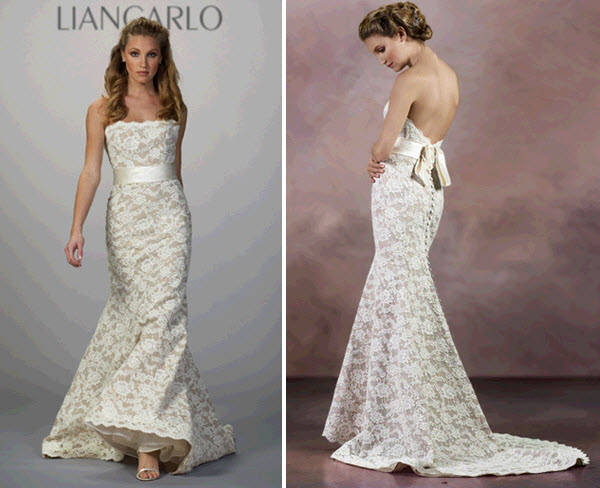 Strapless lace mermaid wedding dress by liancarlo with low for Wedding dresses with interesting backs