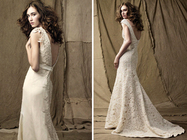 Two beautiful classic ivory lace wedding dresses by Lela Rose with open low backs