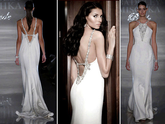 White sheath halter wedding dress with open low back and silver beading