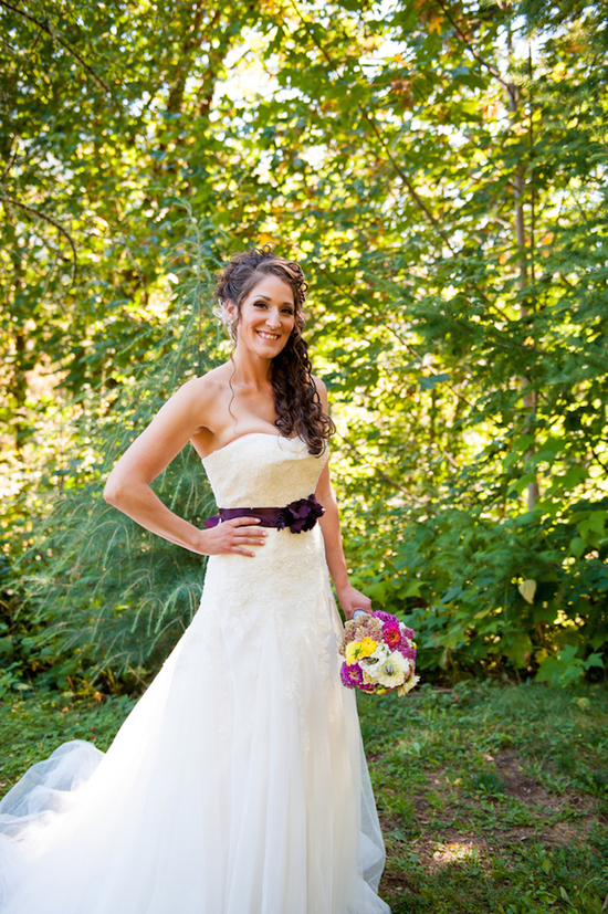 Bridal Gown with a Purple Belt