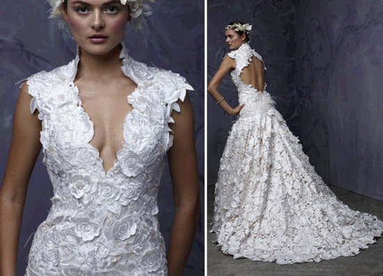 White lace v-neck wedding dress with open key hole back