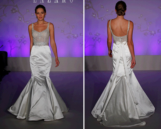 Stunning diamond white scoop neck wedding dress with beaded corset and low back