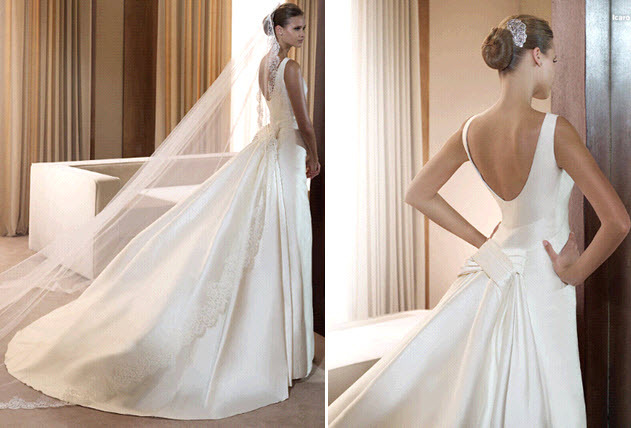 Classic white simple structured wedding dress by pronovias for Wedding dresses with interesting backs