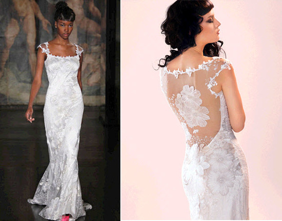 Claire Pettibone wedding dress with illusion fabric and beading in back