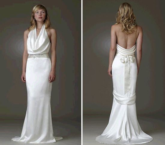 Cowl neck white silk wedding dress with low back by Amy Kuchel