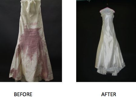 This strapless white wedding dress was stained with red wine and then later restored by Madame Paule