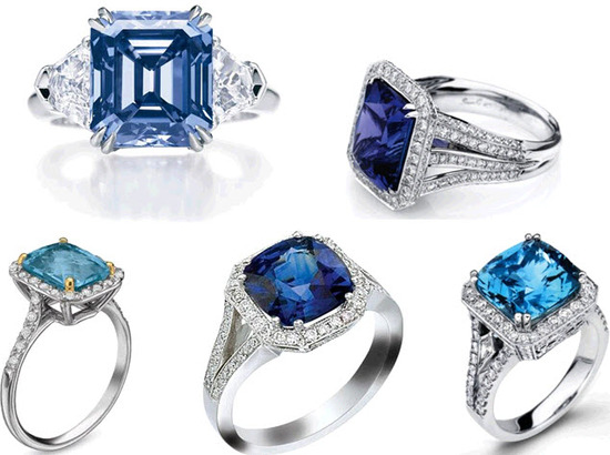These sea hued gemstone platinum engagement rings won't give you the blues!