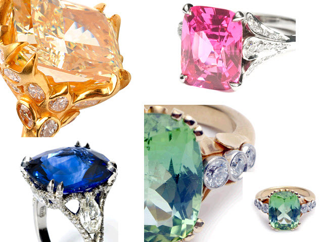 Stunning colored gemstone diamond and platinum engagement rings