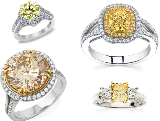 Yellow and brown diamonds set in platinum- a unique spin on traditional engagement ring bling