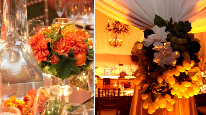 Bright orange flowers with green succulents for table for Orange centerpieces for tables