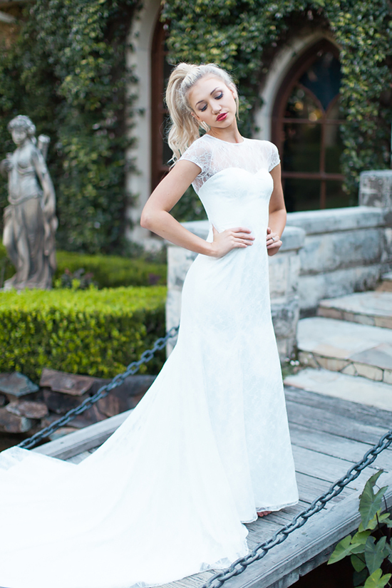 Brooke Wedding Dress with Lace Bodice and Capped Sleeves