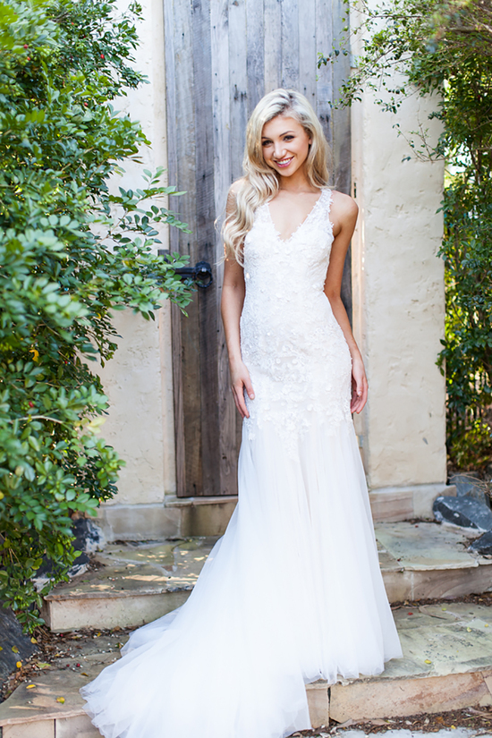 Cara Wedding Dress with Deep V Neck and Lace