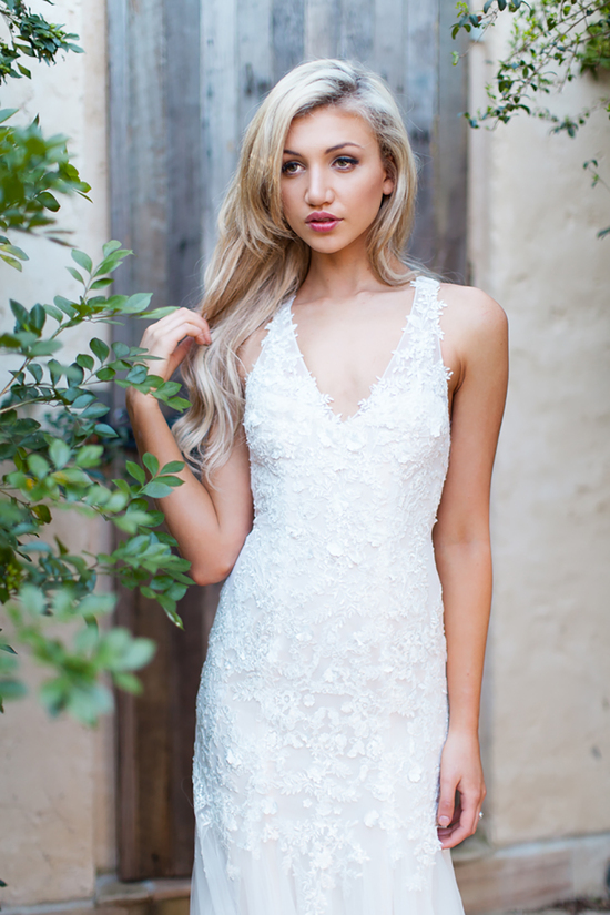 Cara Wedding Dress with Lace and Flower Applique and a Deep V Neck