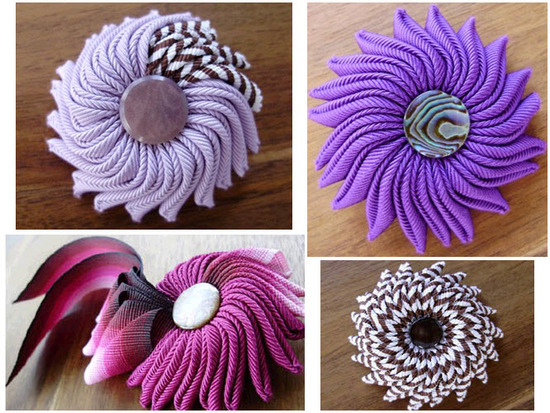 Vibrant non-traditional groom's boutonnières and bridal brooches created from ribbon