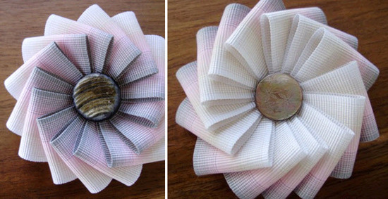 Pastel white, blue, and pink grossgrain ribbon bridal brooches