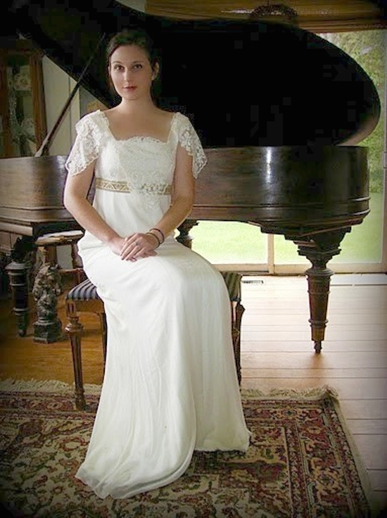 photo of Bride Chic Vintage Inspired Dress with Lacey Sleeves